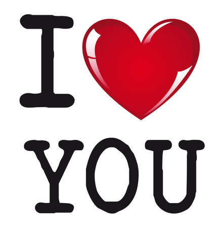 love you: I love you message on white background, vector illustration