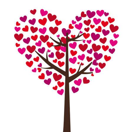 corazon rosa: �rbol con hojas de coraz�n sobre fondo blanco, ilustraci�n vectorial