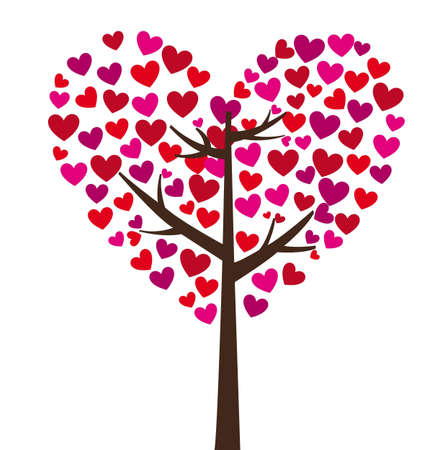 pink hearts: tree with heart leaves on white background, vector illustration Illustration