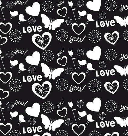 Cuori, amore e cuori fondo, illustrazione in bianco e nero