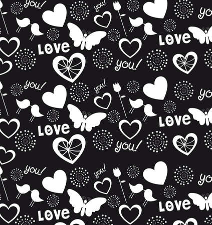 Hearts, love and hearts background, black and white illustration Vector