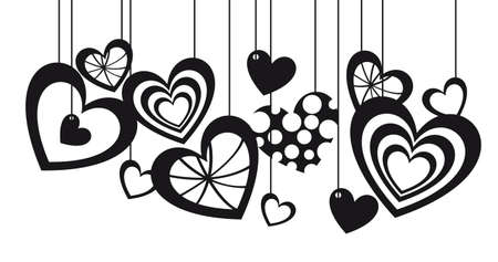 Hearts silhouettes hanging on white background, vector illustration