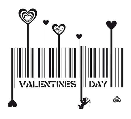 message vector: bar code with valentines day message, vector illustration