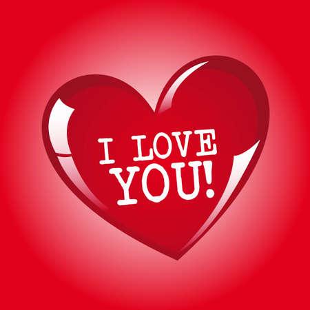 Cuore rosso con ti amo messaggio, illustrazione vettoriale Vettoriali