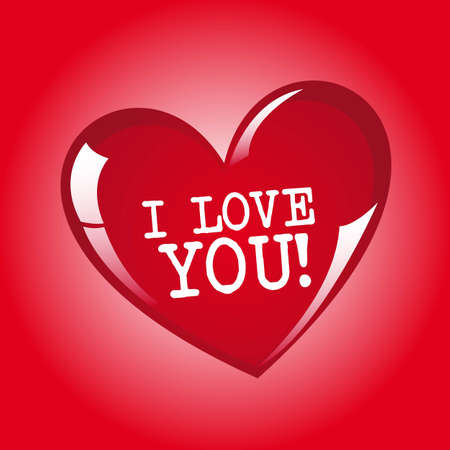 Red heart with i love you message, vector illustration Vector