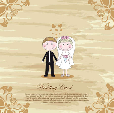 wedding card design: Wedding vintage card, cartoon couple with space to insert message, vector illustration