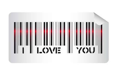 te amo: C�digo de barras con el i love you mensaje, ilustraci�n vectorial