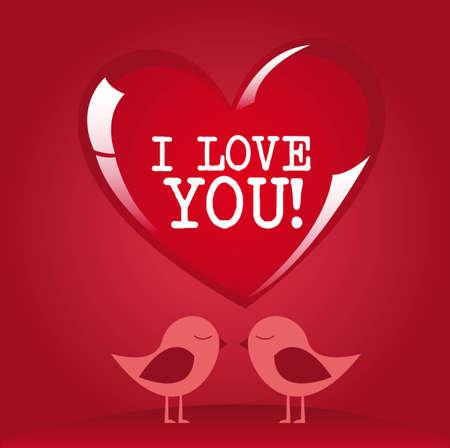 素敵な鳥と赤いハートにメッセージを愛します。  イラスト・ベクター素材
