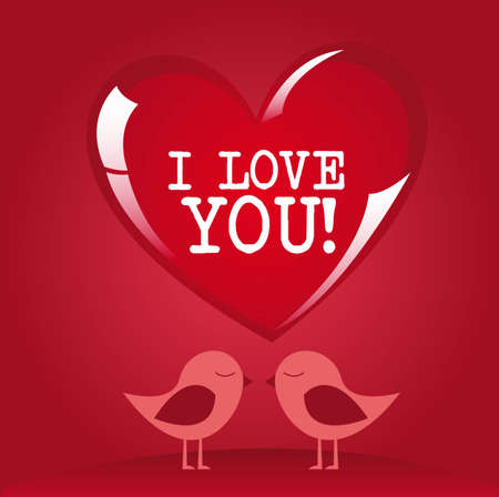 I love you message on red heart with lovely birds