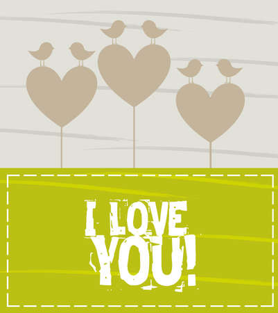 Hearts and birds valentines card, space to insert text or design Vector