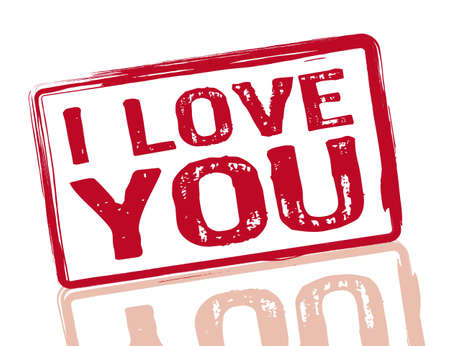 declaracion de amor: Te amo sello rojo sobre fondo blanco, ilustraci�n vectorial