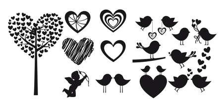 birds in tree: Forma di cuore su sfondo bianco, silhouette vector