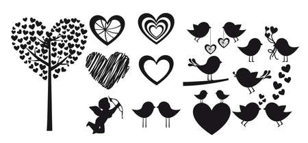 black bird: Heart shapes on white background, vector silhouette