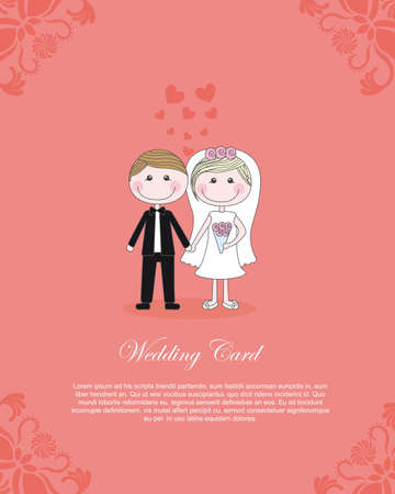 COuple illustration over pink background, card to insert text, vector