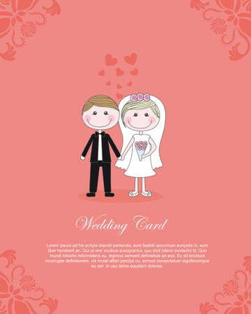insertar: Ilustraci�n de Pareja sobre fondo de color rosa tarjeta, insertar texto, vector