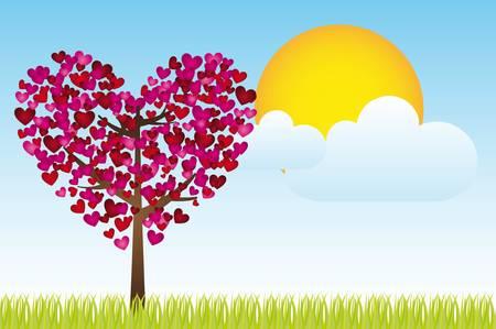 landscaoe con el corazón del árbol, el cielo y el sol, ilustración vectorial, espacio para insertar texto o diseño Ilustración de vector