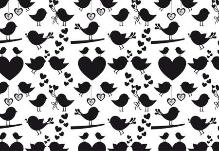 Heart and birds silhouettes on white background, vector silhouette Vector