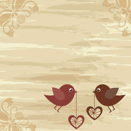 Birds in love on vintage background, space to insert text or design, vector illustration Stock Vector - 12136705