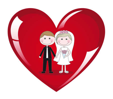 Couple on heart on white background, vector illustration Vector