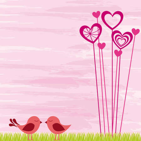 flying kiss: Loving birds on pink background, vector illustration