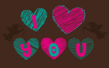 love you: i love you hearts on brown background, Heart and birds silhouettes on white background, vector silhouette