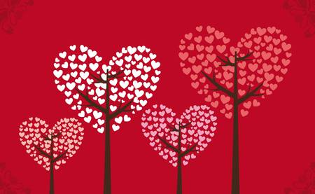 Three heart vector on red background, vector illustration Stock Vector - 12136714