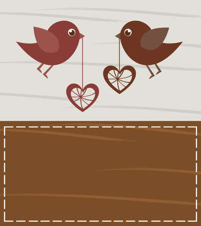 Loving birds on valentines card, space to insert your text or design Stock Vector - 12136700