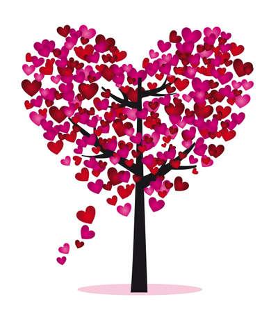 corazon rosa: �rbol de p�rpura y rojo con hojas de coraz�n, ilustraci�n vectorial