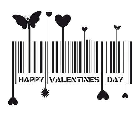 bar code with valentines day message, vector illustration Stock Vector - 12136530