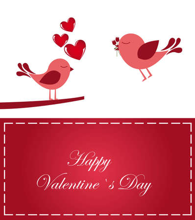 Valentines day card with loving birds, vector illustration  Illustration