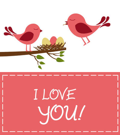 spring message: Love you card with loving birds, pink and white illustration