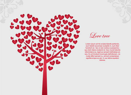 spring message: red love tree with space to insert text, vector illustration