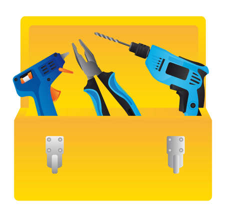 mending: yellow toolbox isolated over wthite background. vector illustration
