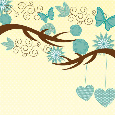cute nature background, with butterfly and flowers. vector Vector