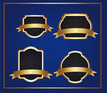 black and gold labels over blue background. vector illustration Stock Vector - 12136577