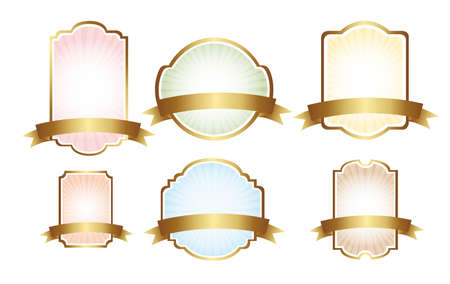 six pastel labels isolated over whtie background.  vector illustration Vector