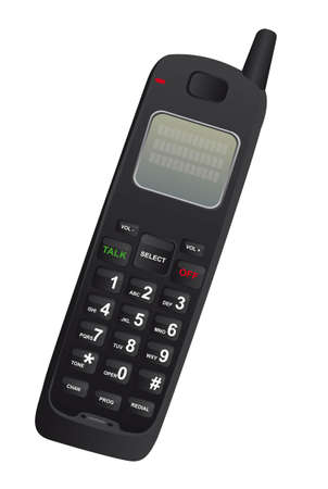 black cordless phone isolated over wthite background. vector Vector