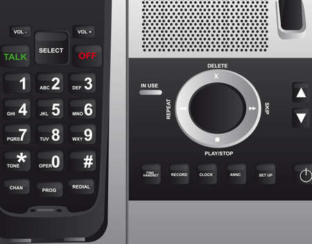 dialer: black cordless phone background. close up