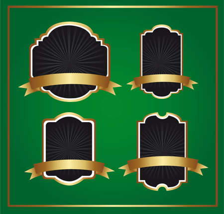 black and gold labels over green background. vector illustration Vector