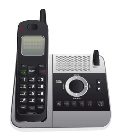 black appliances: cordless phone isolated over white background. vector
