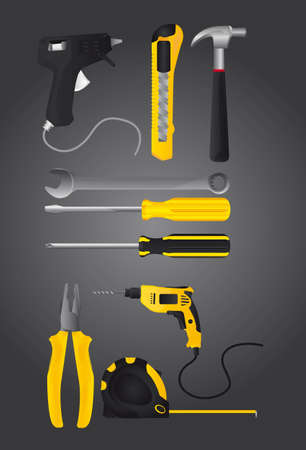 yellow and black tools over black background. vector illustration Vector