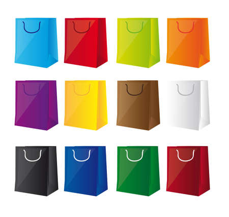 colorful shopping bags isolated over white background. vector Stock Vector - 12136574