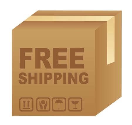 free shipping text over cardboard box isolated. vector illustration Vector
