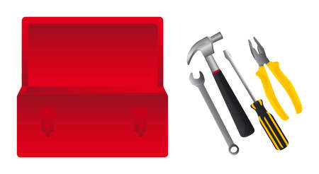 red toolsbox with tools isolated over whtite background. vector Vector