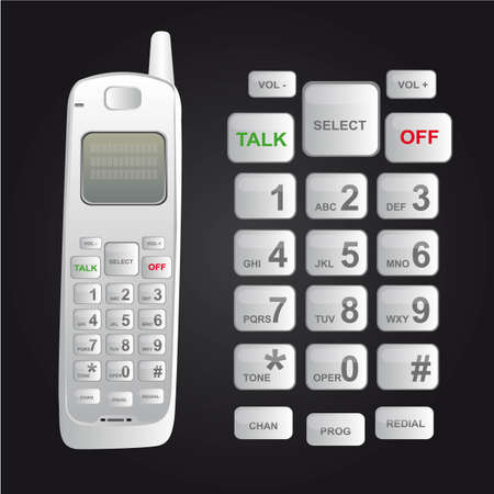 dialer: white cordless phone isolated over black background. vector