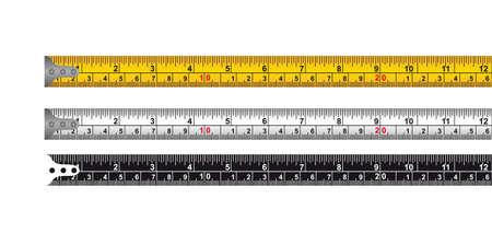 cinta de medir: tres cinta métrica aisladas sobre fondo blanco. vector