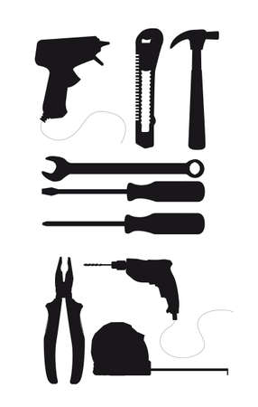 black silhouette tools isolated over white background. vector Stock Vector - 12136685