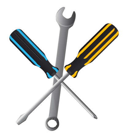 tooling: wrench and screwdriver isolated over white background. vector