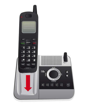 cordless phone: cordless phone isolated over white background. vector