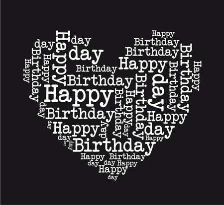 auguri di buon compleanno: bianco e nero buon compleanno cuore isolato illustrazione vettoriale